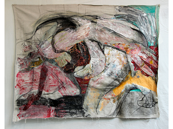 Ciravolo - Ground acrylic and collage on dropcloth 42in x 53in