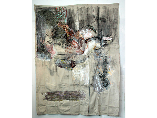 Ciravolo -acrylic and collage on dropcloth 67in x 52in
