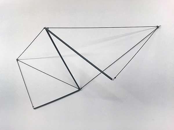 Daniel Hill - Dishtowel Fold - polyestercord, PVC rod, stainless steel, 94.5 x 49 x 26 inches (240 x 124 x 66 cm), 2018, multiple of 3