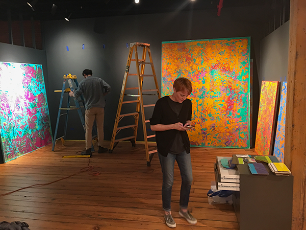 Installation of Press-Play exhibit