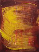 Anne Russinof - Canvas, Oil Paint, red, gold, abtract