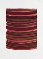 Emily Berger, Jay, stripes in reds, watercolor