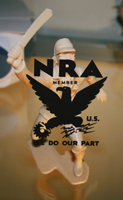 Margaret Roleke, NRA Do our Part text over a toy, on silkscreen