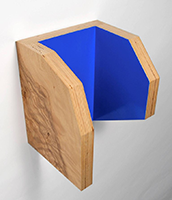 plywood surfaces, laminated with wood veneer and painted with bright blue