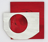 Diane Englander white form on red wood
